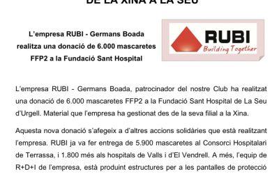 L'empresa RUBÍ – Germans Boada realitza una donació de 6000 mascaretes FFP2 a la Fundació Sant Hospital
