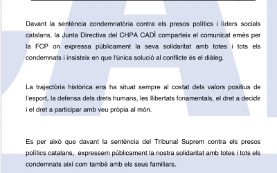 Comunicat del CHPA CADÌ sobre la sentència del Tribunal Suprem.
